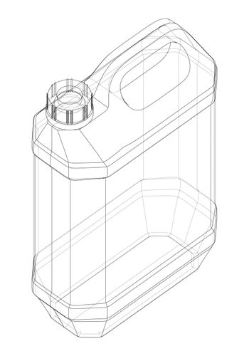 Engine oil in typical container. Vector rendering of 3d. Wire-frame style. The layers of visible and invisible lines are separated. Orthography or isometric