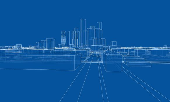 Vector lines buildings and city roads, town design. Vector rendering of 3d. Wire-frame style. The layers of visible and invisible lines are separated