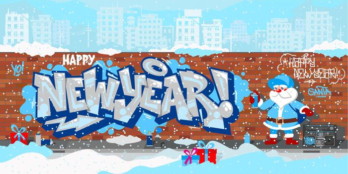 Cartoon Funny Hiphop Santa Claus Spraying Graffity Happy New Year Vector Illustration