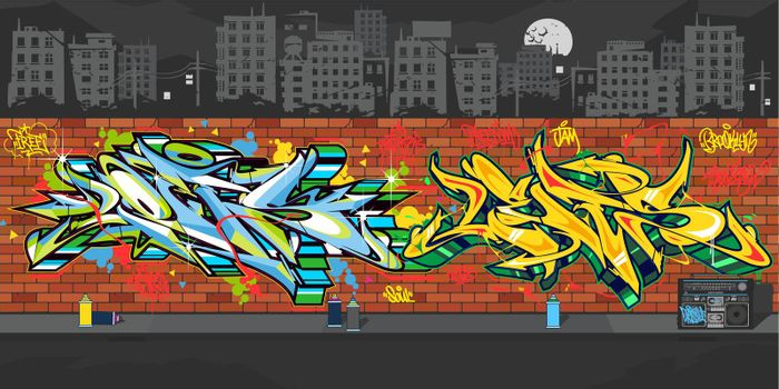Outdoor Urban Graffiti Wall With Drawings At Night Against The Background Of The Cityscape Vector Illustration