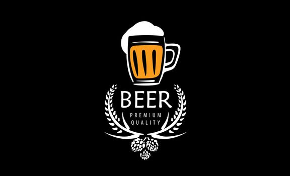 Vector logo with a drawn beer mug on a black background.
