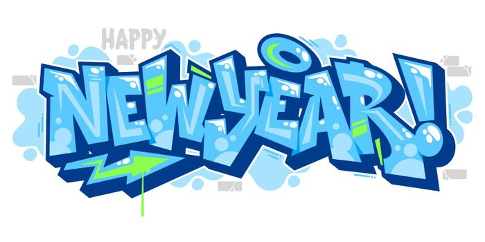 Isolated Blue Abstract Word New Year Graffiti Style Font Lettering Vector Illustration Art