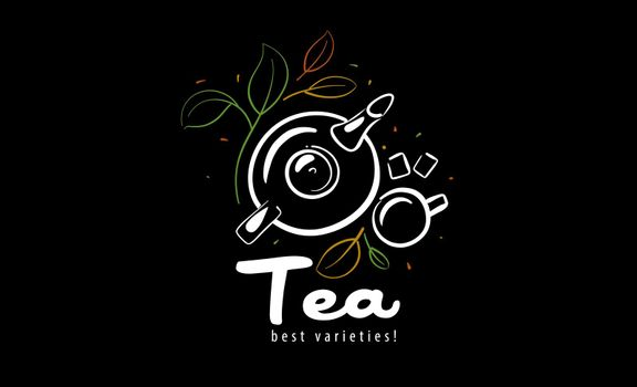 Vector logo with a painted teapot, a cup of tea and leaves on a black background.