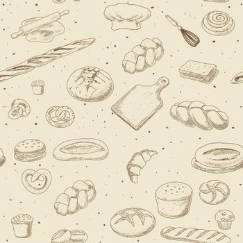 A collection of bread and bread products, a seamless pattern in an engraved vintage style.