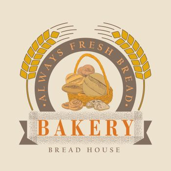 A collection of bread and bakery confectionery products. Rye, wheat and whole grain bread. French baguette and wicker bun. Croissants, bagels, slices of bread. The concept of a bakery in a retro style
