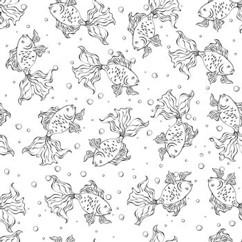 Seamless pattern with goldfishes and bubble