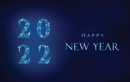Blue Happy New Year design. 2022 from polygonal mesh with light points. Next to it shiny metallic effect greeting text.