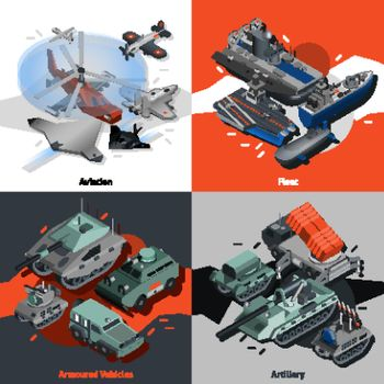 Military equipment design concept set with aviation fleet artillery isometric icons isolated vector illustration