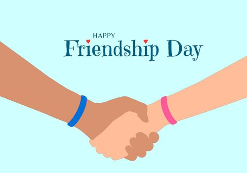 Happy Friendship Day concept. The hands of two friends as they hold each other. Blue and pink wristband that symbolize eternal friendship. Inscription with red heart decoration.