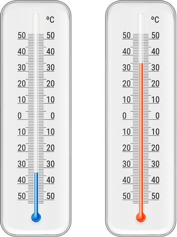 Classic outdoor and indoor celsius alcohol ethanol red  and blue thermometers set for meteorological measurements realistic vector illustration