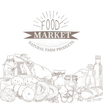 An illustration of organic food products in an engraved style. Products of the farmers market. The concept of a grocery store.