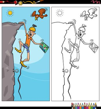 Cartoon illustration of climber comic character coloring book page