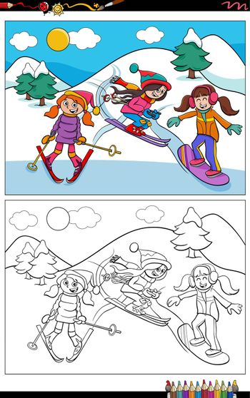 Cartoon illustration of skiing girls comic characters coloring book page