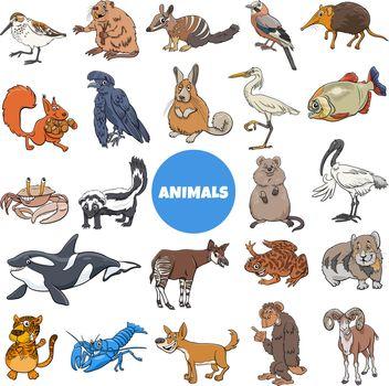 Cartoon illustration of funny wild animal species characters big set
