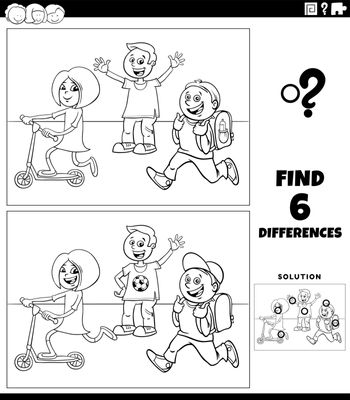 Black and white cartoon illustration of finding the differences between pictures educational game with elementary age children coloring book page