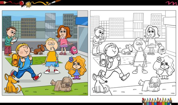 Cartoon illustration of kids and dogs characters group in the city coloring book page