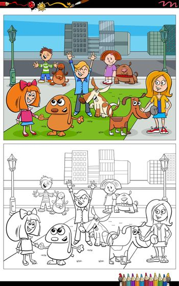 Cartoon illustration of children and dogs comic characters group coloring book page