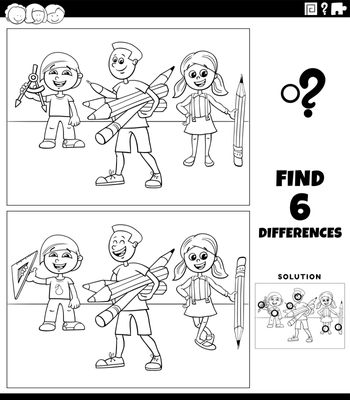 Black and white cartoon illustration of finding the differences between pictures educational game with pupils children coloring book page
