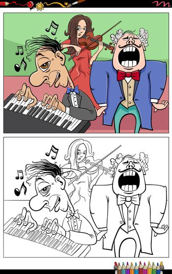 Cartoon illustration of musicians characters group coloring book page