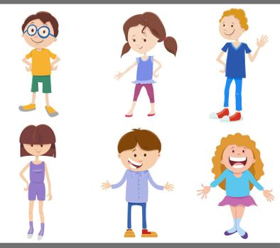 Cartoon illustration of happy children and teenagers comic characters set