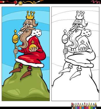Cartoon illustration of king of the hill comic character coloring book page