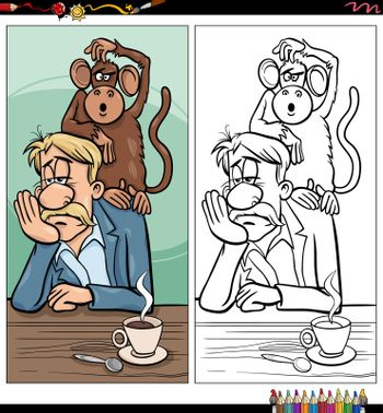 Cartoon illustration of monkey on your back proverb with comic characters coloring book page