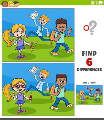 Cartoon illustration of finding the differences between pictures educational game with elementary age pupils