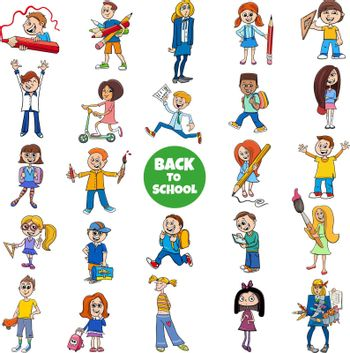 Cartoon illustration of elementary or teen age girls and boys students characters set with back to school caption