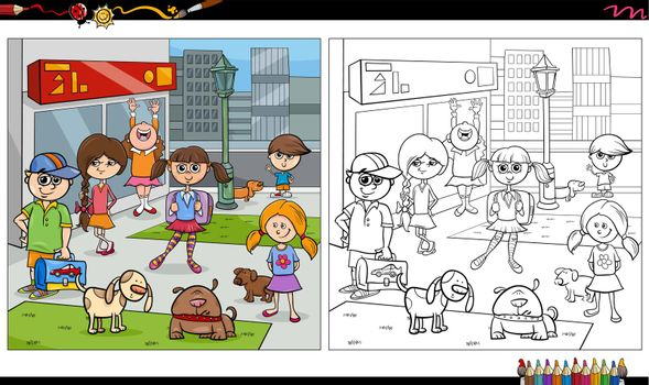 Cartoon illustration of children and dogs characters group in the city coloring book page