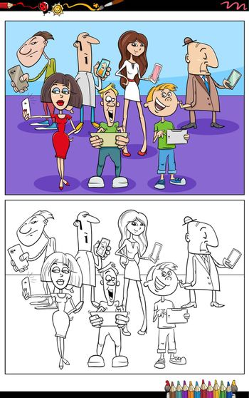Cartoon illustration of people with smart phones and tablets comic characters group coloring book page