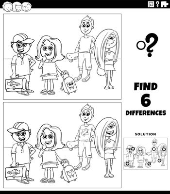 Black and white cartoon illustration of finding the differences between pictures educational game with elementary age kids coloring book page