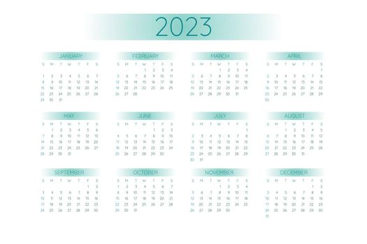 2023 pocket calendar template in strict minimalistic style with teal gradient elements, horizontal format. Week starts on Sunday.
