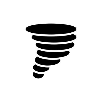 Tornado vector glyph icon. Whirlwind storm sign. Meteorology sign. Graph symbol for travel, tourism and weather web site and apps design, logo, app, UI
