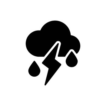 Cloud with fall rain and lightning vector glyph icon. Meteorology sign. Graph symbol for travel, tourism and weather web site and apps design, logo, app, UI
