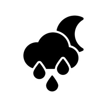 Raincloud with raindrops moon vector glyph icon. Meteorology sign. Graph symbol for travel, tourism and weather web site and apps design, logo, app, UI