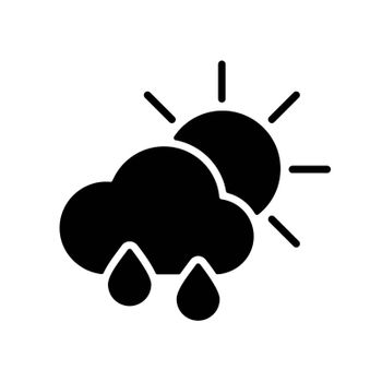 Sun with raincloud and raindrops vector glyph icon. Meteorology sign. Graph symbol for travel, tourism and weather web site and apps design, logo, app, UI