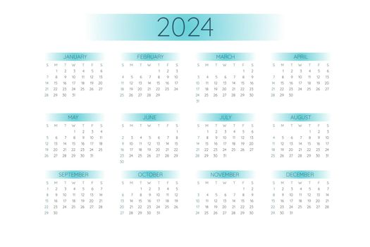 2024 pocket calendar template in strict minimalistic style with mint color gradient elements, horizontal format. Week starts on Sunday.