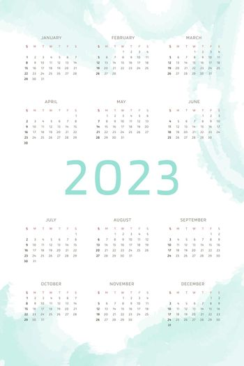 2023 calendar template on mint blue hand drawn background with watercolor brush strokes. Calendar design for print and digital. Week starts on Sunday.