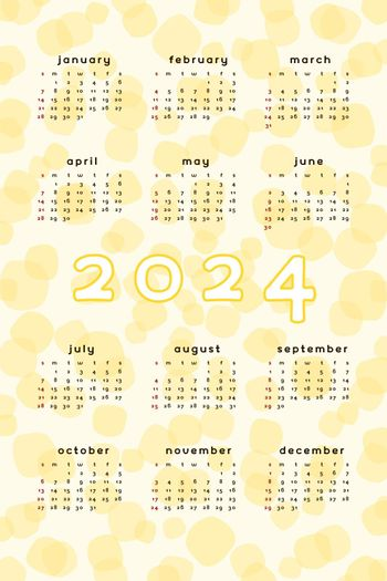 2024 calendar template. Vertical format yellow abstract background with hand drawn spot blob blot. Calendar design for print and digital. Week starts on Sunday.
