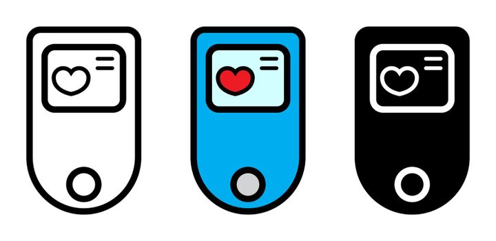 Pulse oximeter icon set. Oxygen measurement medical equipment. Vector illustration isolated on white. Medical equipment color symbol, outline and silhouette design.