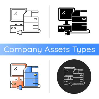 Technical equipment icon. Technology assets including mainframe computers, servers and general computer equipment. Printers. Linear black and RGB color styles. Isolated vector illustrations