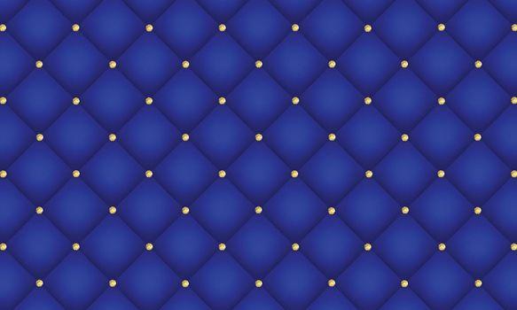 Royal blue luxury background. Elegant leather texture with gold diamond decoration.