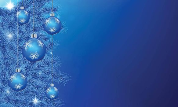 Festive background with blue pine tree branch. Hanging shiny christmas balls, stars decoration.