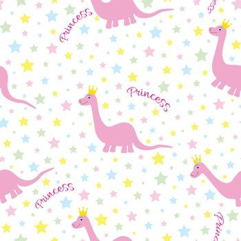 Pink princess dino seamless pattern with pastel colored star and text decoration. Cute texture for childrens products, clothing. White isolated background.