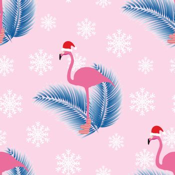 Flamingo in santa hat and tropical winter mood. Pink seamless pattern with blue frosty palm leaves. White snowflake decoration. Vector illustration.