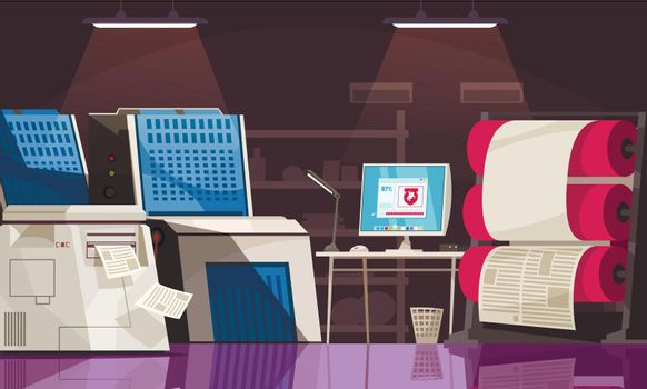 Press equipment and desk with computer in printing house room cartoon vector illustration
