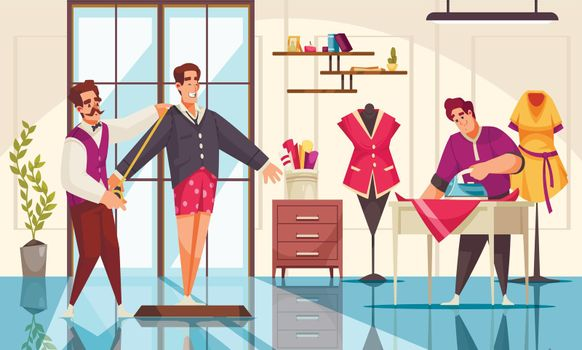 Tailors taking measurement and ironing clothing at studio cartoon vector illustration