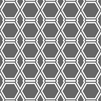 Seamless geometric pattern of intersecting lines creating hexagons. An ornament for texture, textiles and simple backgrounds. Flat style.