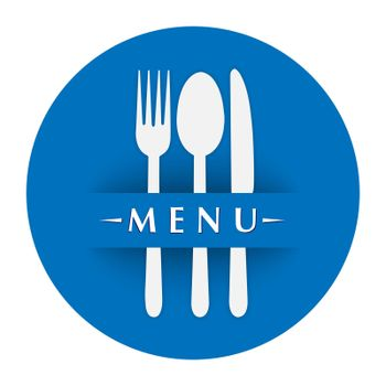 Vector logo, sticker or logo of a restaurant or cafe. Flat style.