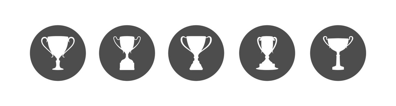 round icon with a cup. A set of vector illustrations. Flat style.